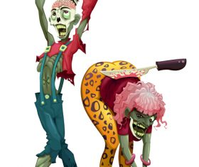 Funny zombie couple vector