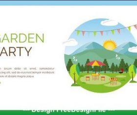 Garden party cartoon illustration vector