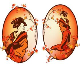 Geisha illustration vector