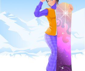 Girl and skateboard vector