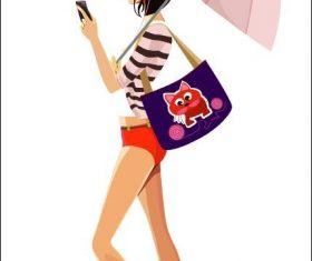 Girl holding an umbrella vector