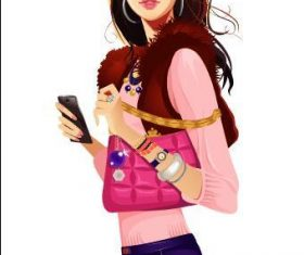 Girl holding mobile phone vector