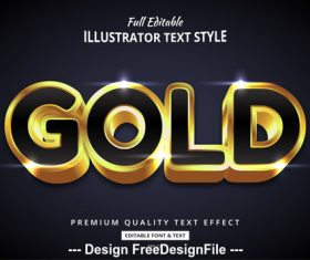Gold editable font effect text vector