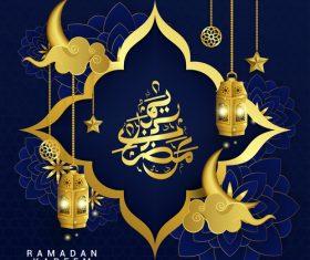 Golden Ramadan Kareem design illustrations vector