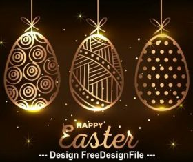 Golden easter eggs illustration vector