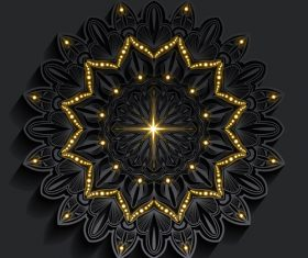 Golden shiny mandala pattern vector