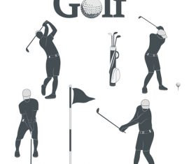 Golf Player Silhouette icon vector