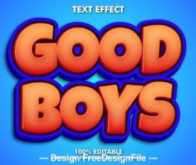 Good boys editable font effect text vector