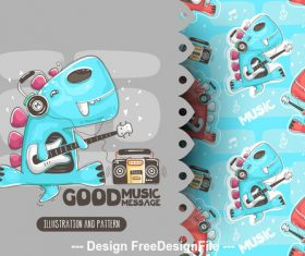 Good music cartoon background illustration vector