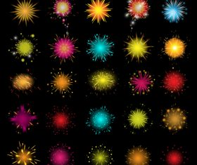 Gorgeous fireworks icons set vector