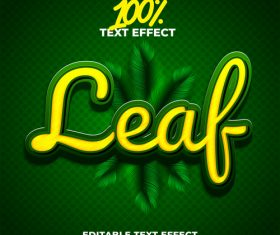 Green Leaf text effect vector