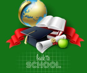 Green background vector back to school