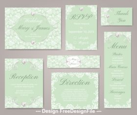 Green background wedding set linear template vector