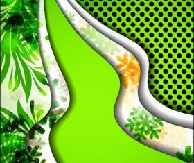 Green curved lines abstract background vector