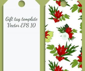 Green flower background tag template vector