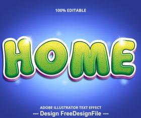Green home editable font effect text vector