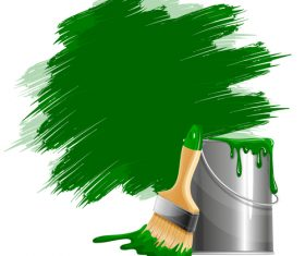 Green paint and oil barrel vector