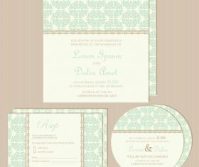 Green vintage wedding invitations vector