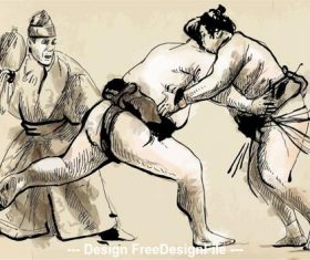 Hand drawn illustration of sumo match vector