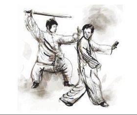 Hand drawn martial art illustration vector