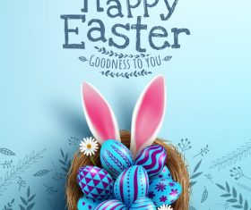 Happy Easter eggs in nest poster vector