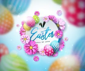 Happy Easter promotion poster vector