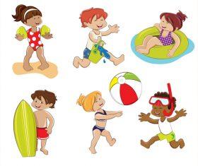 Happy children playing vector