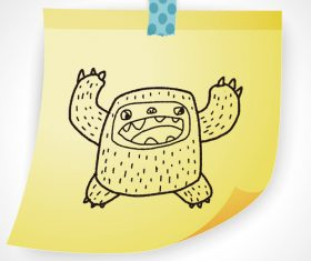 Happy monster creative doodle vector