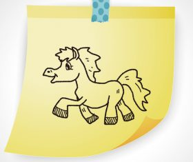 Happy pony creative doodle vector