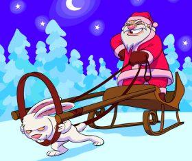 Hare sledge funny caricature vector