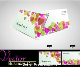Heart background business card design vector