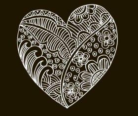 Heart doodle black background vector