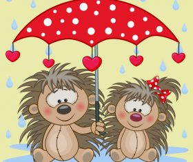 Hedgehog and umbrella cartoon vector