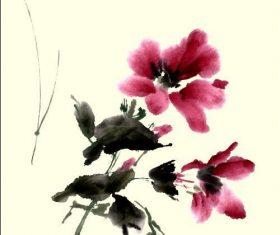 Hibiscus watercolor illustration vector