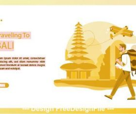 Hiking travel card vector