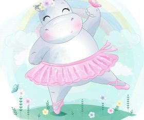 Hippo girl cartoon vector