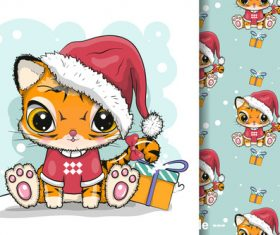 Holiday cat cartoon illustration vector