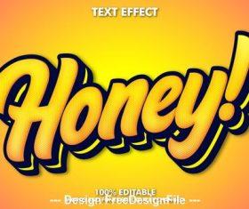 Honey editable font effect text vector