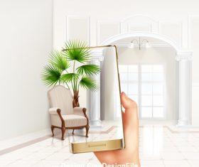 Houseplant smartphone shooting vector