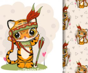 Hunter dressed up cat cartoon illustration vector