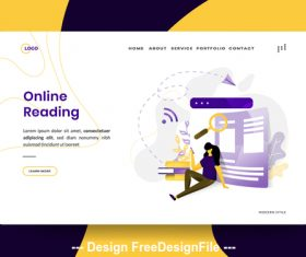 Illustration Online Reading vector