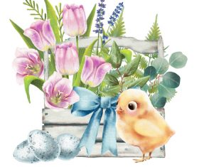 Illustration easter chick card vector