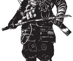 Illustration samurai japan culture vector
