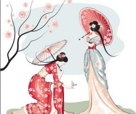 Illustration woman and cherry blossom vector