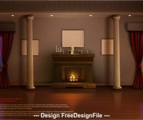 Indoor fireplace vector
