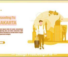 Jakarta travel card vector