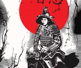 Japan culture samurai illustration vector
