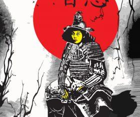 Japan culture shogun sitting shogun vector