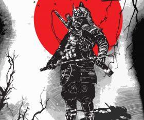 Japan culture shogunate samurai vector
