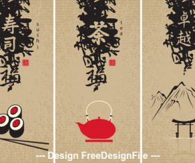 Japan elements banner design vector